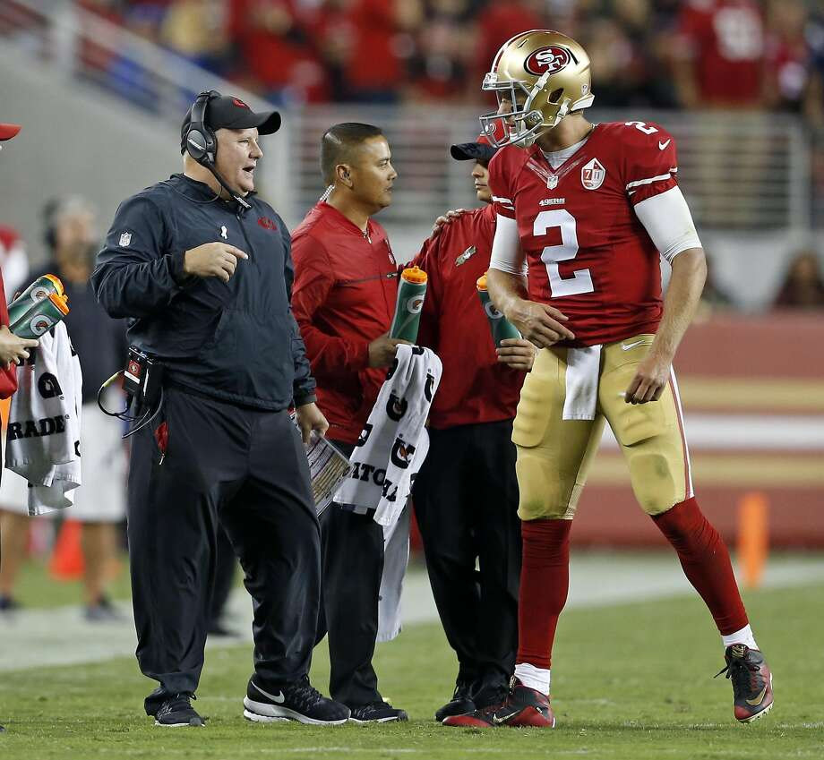 San Francisco 49ers' head coach Chip Kelly and Blaine Gabbert against Los Angeles Rams during NFL game at Levi's Stadium in Santa Clara, Calif., on Monday, September 12, 2016. Photo: Scott Strazzante, The Chronicle