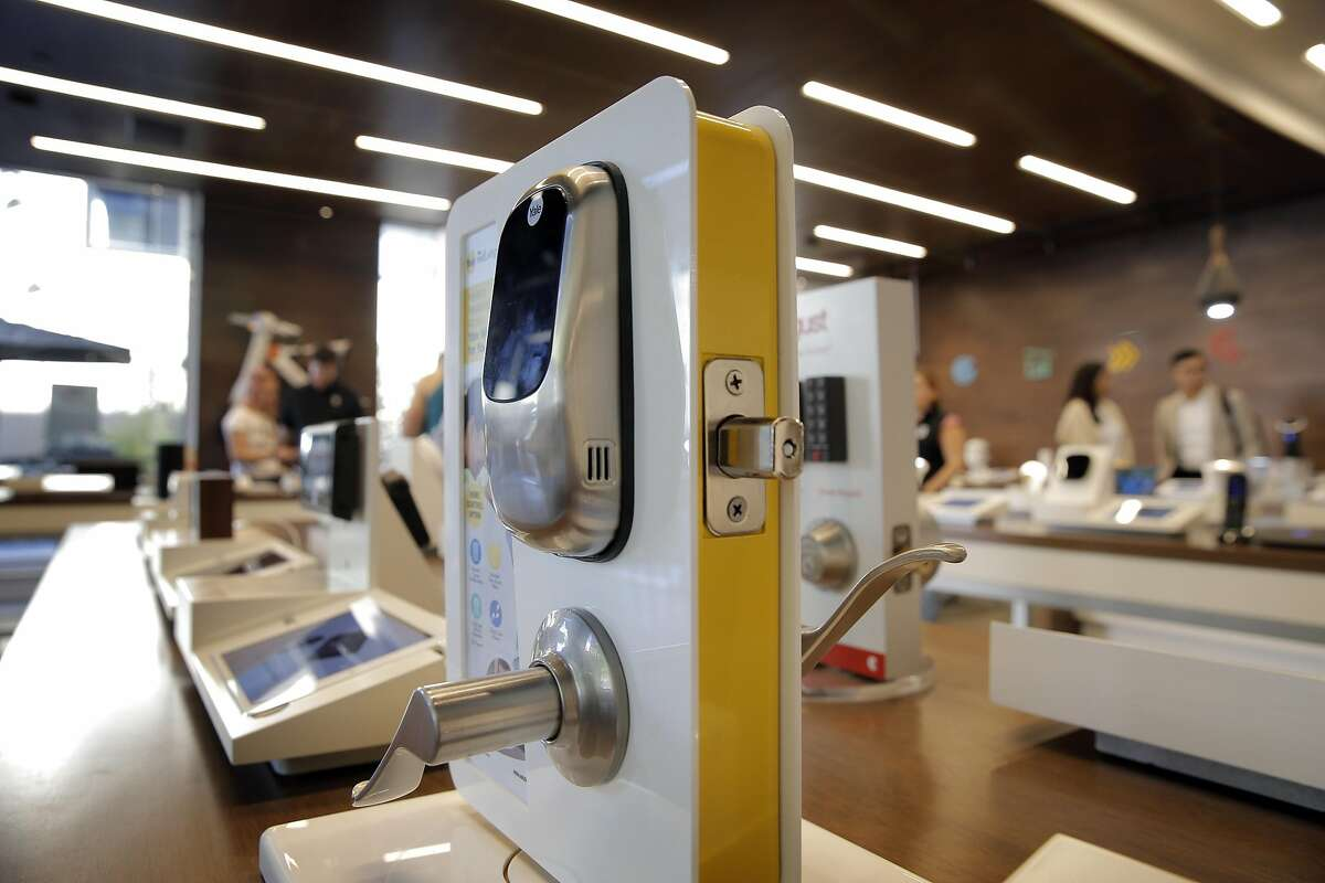 A Yale Real Living� Keyless Entry Lock on display at b8ta in Palo Alto, Calif., on Tuesday, August 30, 2016. b8ta is one of a few Bay Area stores selling directly to consumers, where inventors market expensive electronics directly to the public. There are iPads next to each item, showing how many people have viewed a video or how many have stopped at a different station.
