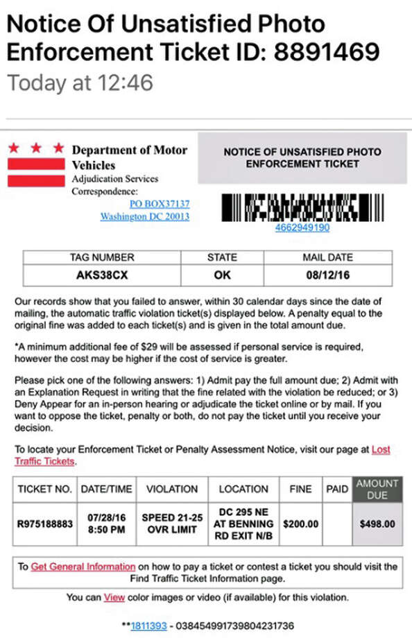 """State Police are warning people of a scam that tries to get people to pay a traffic ticket. This """"ticket"""" was for speeding in Washington, D.C. earlier this summer. The fine and penalties is $498. Photo: Connecticut State Police Via Facebook"""