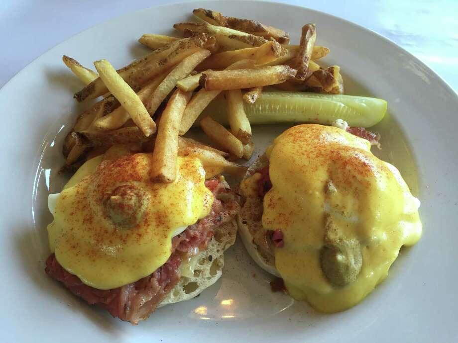 Montreal-style smoked meat is on the Montreal Benedict. Photo: Edmund Tijerina /San Antonio Express-News