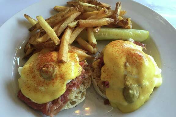 Montreal-style smoked meat is on the Montreal Benedict.