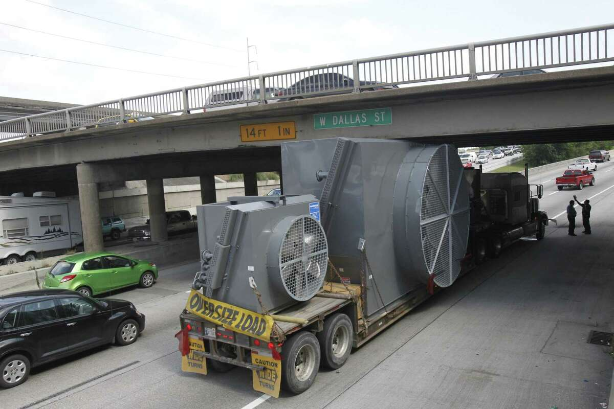 The West Dallas bridge spanning Interstate 45 has been hit a number of times, including this heavy load which became wedged under it on April 29, 2013.