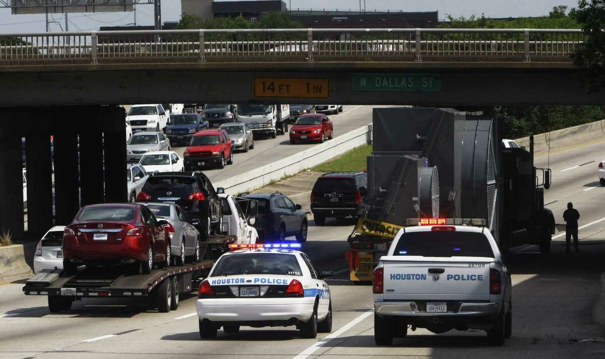 Emergency crews were working to dislodge a trailer that became wedged under the West Dallas overpass on Interstate 45. Keep going for a look at the most congested freeways in Texas in 2016.