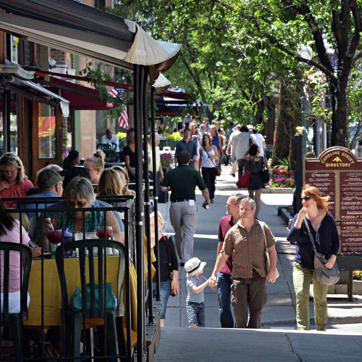 A crowded sidewalk along Broadway Thursday June 19, 2014, in Saratoga Springs, NY. (John Carl D'Annibale / Times Union)
