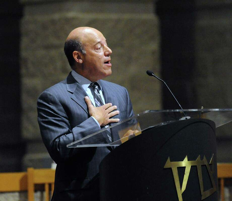 Ari Fleischer, former White House Press Secretary for U.S. President George W. Bush, spoke at Temple Sholom in Greenwich. Photo: Bob Luckey Jr. / Hearst Connecticut Media / Greenwich Time