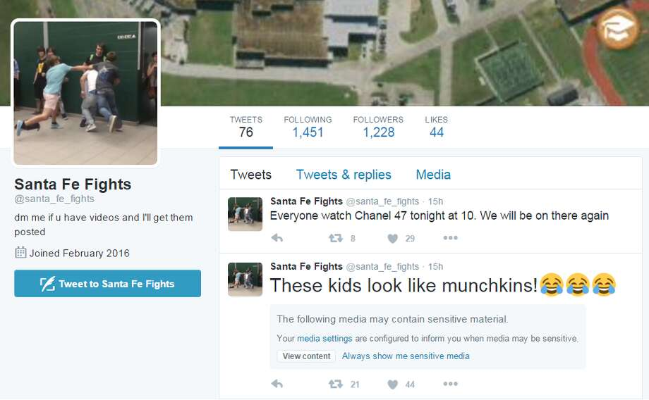 "A Twitter-based ""Fight Club"" account has been hosting videos gathered from a Galveston County school district. Photo: Twitter/@santa_fe_fights"