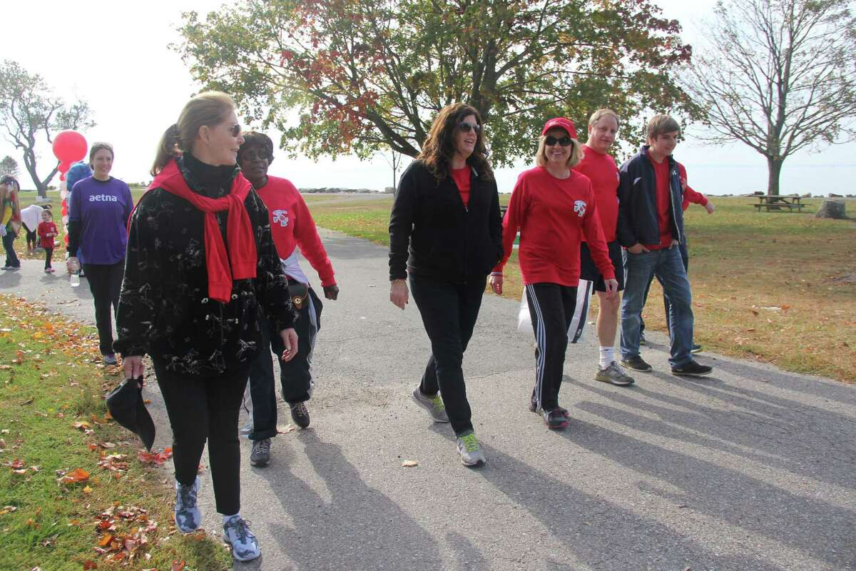 Former Ice Capades skater Karen Christensen of Wilton (third from right in hat) walked in the 2013 Heart Walk for the American Heart Association. This year's event will take place on Oct. 8 at Sherwood Island State Park in Westport.