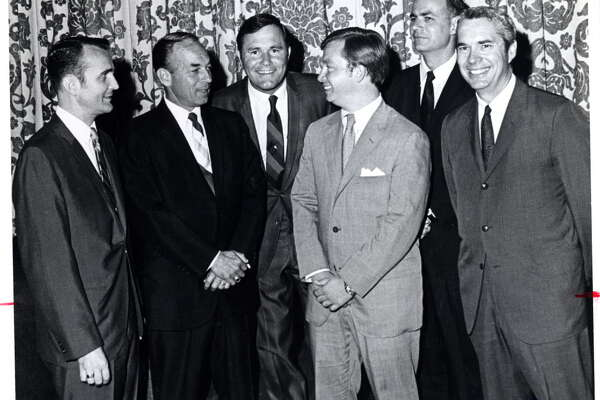 """05/22/1969 - (L-R): Jimmy Brill (president, State Junior Bar);  Judge Wallace C. """"Pete"""" Moore; Richard """"Racehorse"""" Haynes; Dick Deguerin; Carol Vance (Harris County District Attorney); Frank Briscoe (former Harris County District Attorney) - honored Judge Moore with a testimonial dinner at the Rice Hotel."""