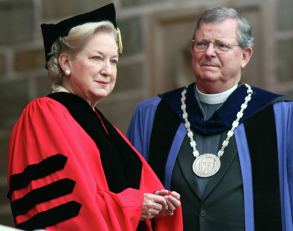 Maryanne Trump Barry receives an honorary degree from President Jeffrey von Arx, S.J. at Fairfield University in 2011. Trump Barry, the 78-year-old sister of Donald Trump, has given Fairfield University a $4 million gift.