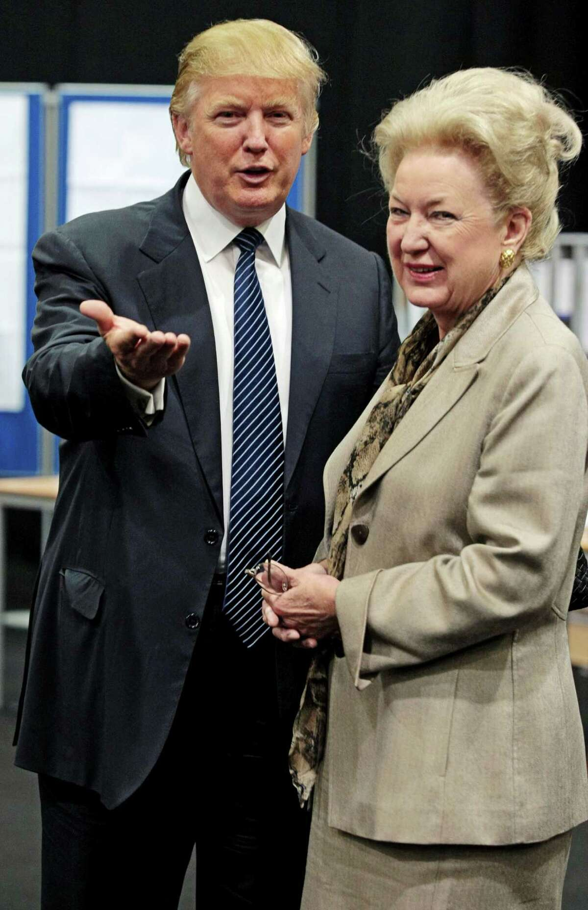 Donald Trump (L) pictured with his sister Maryanne Trump Barry at the Aberdeen Exhibition & Conference centre, Scotland in 2008. Trump Barry, the 78-year-old sister of Donald Trump, has given Fairfield University a $4 million gift.