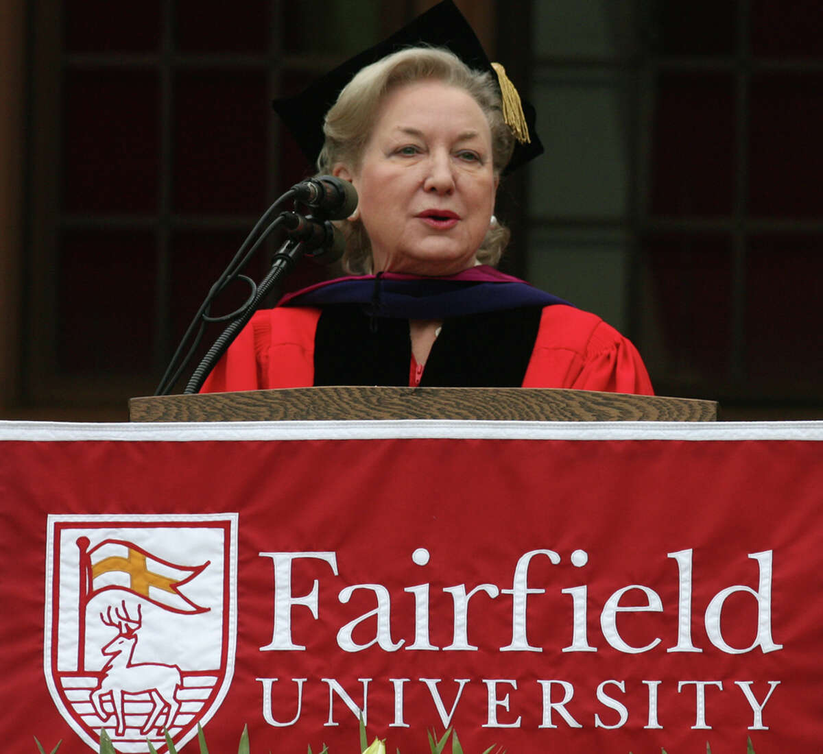 Maryanne Trump Barry gives the Commencement Address at Fairfield University in 2011. Trump Barry, the 78-year-old sister of Donald Trump, has given Fairfield University a $4 million gift.