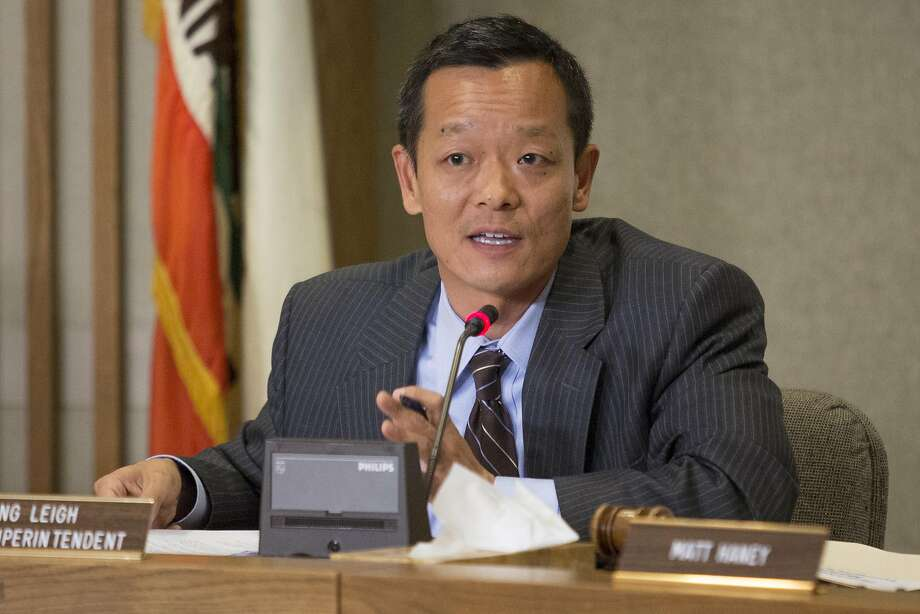Interim Superintendent Myong Leigh tried to reassure parents that immigrants will be safe. Photo: Santiago Mejia, Special To The Chronicle