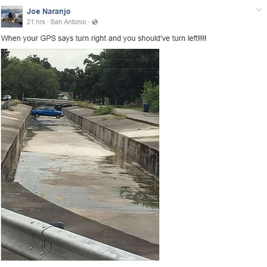 Facebook user Joe Naranjo was able to snap a photo of a Ford Ranger stuck in a ditch in San Antonio on Sept. 13, 2016.