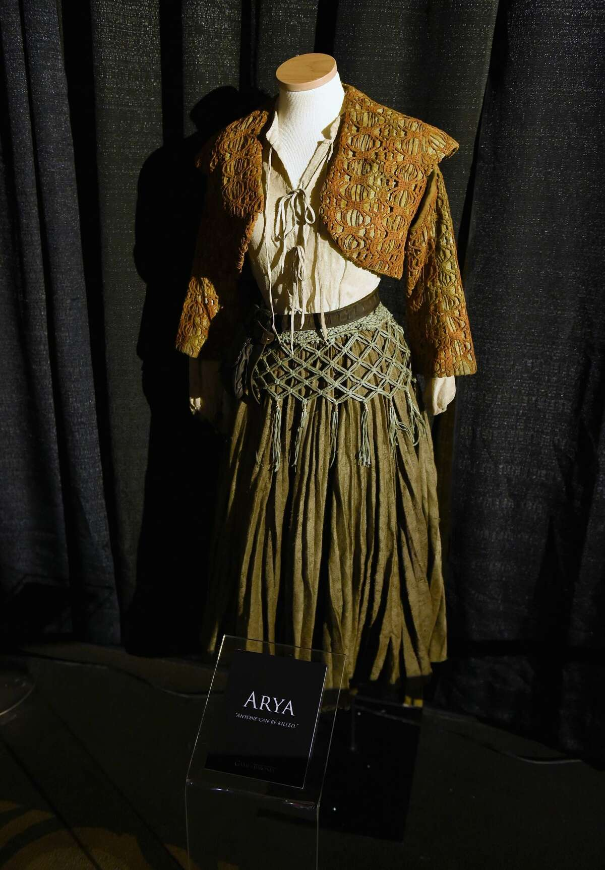 LOS ANGELES, CA - AUGUST 08: An exclusive costume on display during the announcement of the Game of Thrones® Live Concert Experience featuring composer Ramin Djawadi at the Hollywood Palladium on August 8, 2016 in Los Angeles, California. (Photo by Kevin Winter/Getty Images for Live nation Entertainment )