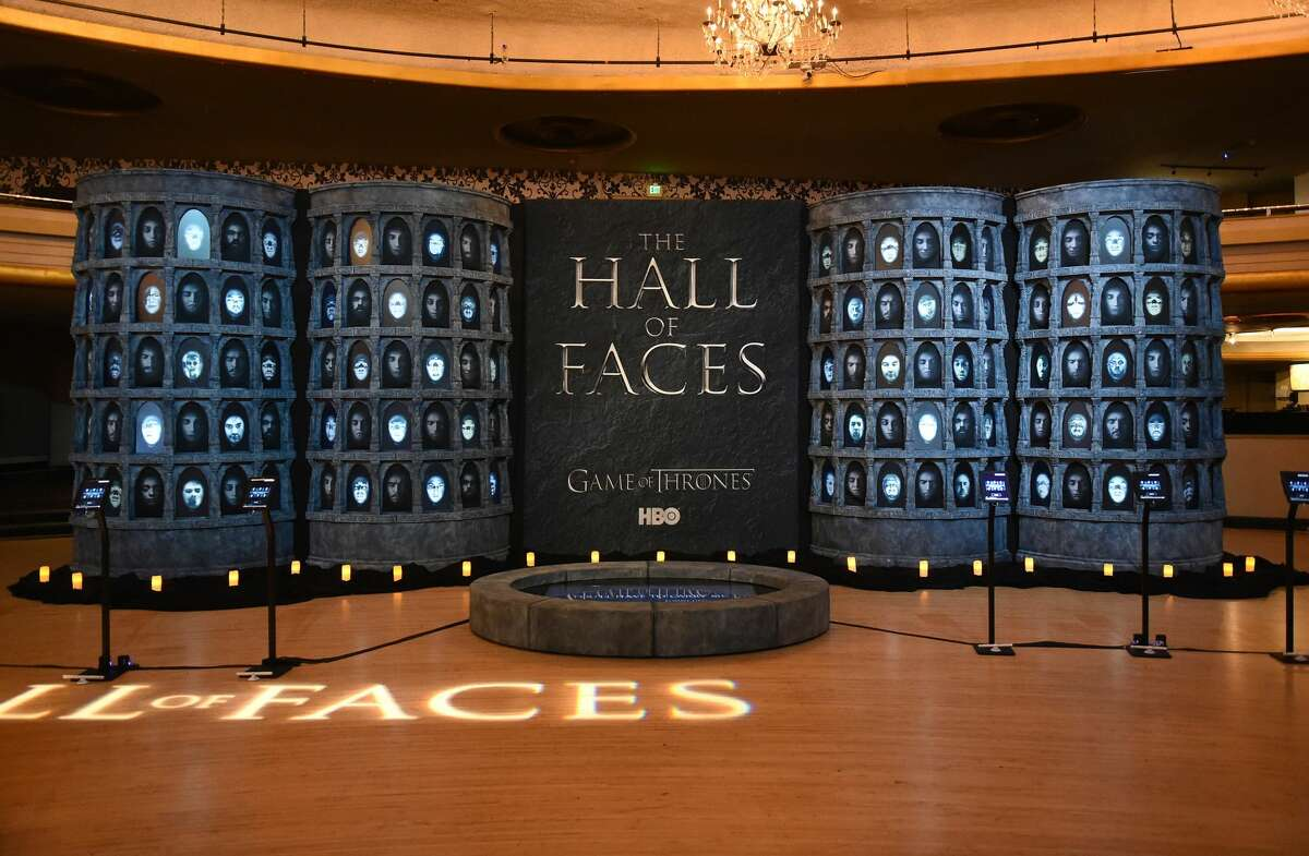 LOS ANGELES, CA - AUGUST 08: Hall of Faces interactive exhibit on display duinrg the announcement of the Game of Thrones® Live Concert Experience featuring composer Ramin Djawadi at the Hollywood Palladium on August 8, 2016 in Los Angeles, California. (Photo by Kevin Winter/Getty Images for Live nation Entertainment )