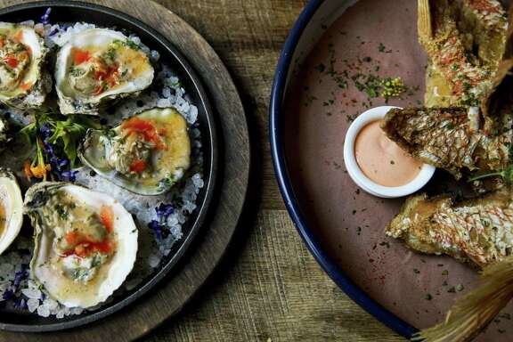 Wood-broiled oysters and snapper throats at Southerleigh Fine Food & Brewery