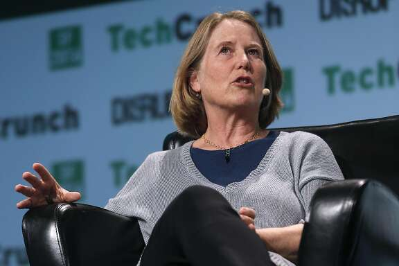 Google executive Diane Greene speaks at the TechCrunch Disrupt conference in San Francisco, Calif. on Tuesday, Sept. 13, 2016.