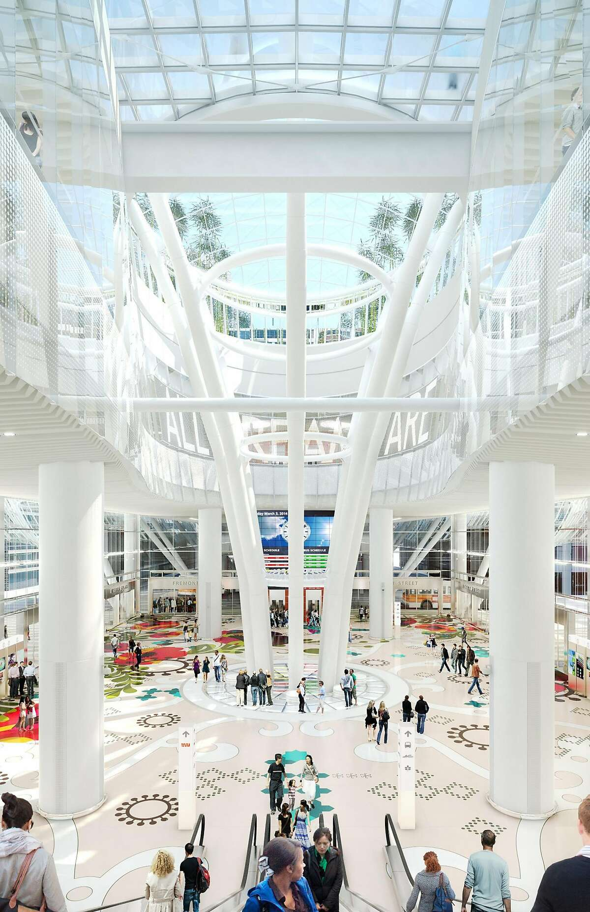 Architect's rendering of the planned Transbay Transit Center, with flooring design by Bay Area artist Julie Chang and Jenny Holzer LED installation above.