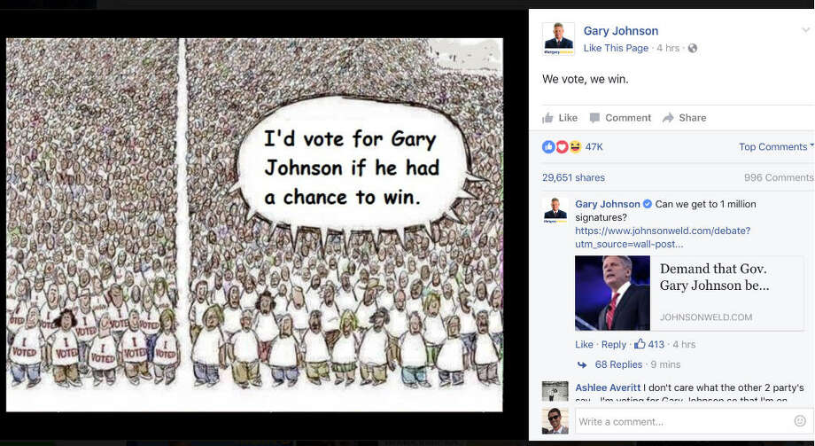 A Facebook post from Libertarian presidential candidate Gary Johnson posted Wednesday morning featured a cartoon by Houston Chronicle cartoonist Nick Anderson. But, the wording had been altered and credit to Anderson was removed. Photo: Facebook