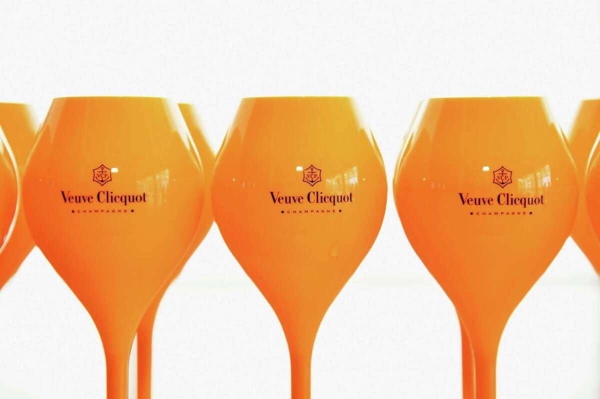 Veuve Clicquot stemware on display during the New York Magazine and Veuve Clicquot Polo Classic viewing party in New York City. The Veuve Clicquot Journey will stop in Houston Sept. 16-18.