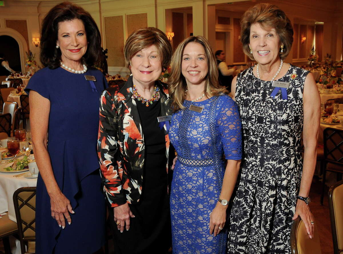 From left: Betty Hrncir, Cora Sue Mach, Julie Baker Finck and Lilly Andress at the Power of Literacy Luncheon at the River Oaks Country Club Wednesday Sept. 14,2016. (Dave Rossman Photo)