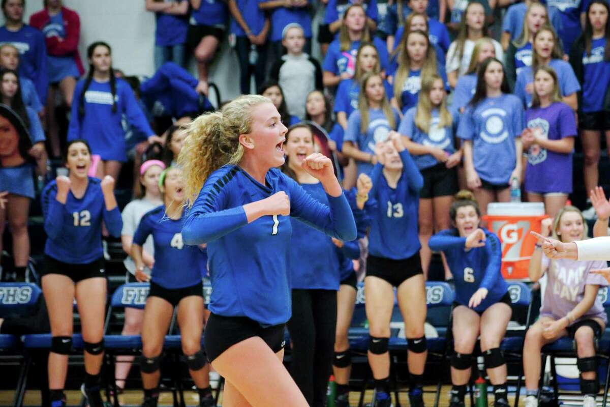 Friendswood's Shannon Murphy (7) celebrates a point against Clear Falls Tuesday, Sep. 13.