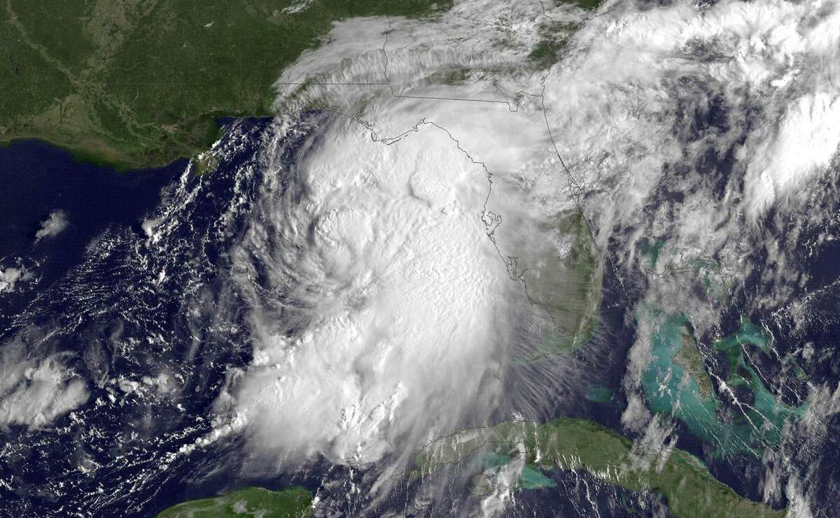 UNITED STATES - SEPTEMBER 1: In this NOAA handout image, taken by the GOES satellite at 1315 UTC shows Tropical Storm Hermine gathering strength in the Gulf of Mexico just west of Florida on September 1, 2016. According to NOAA's National Hurricane Center, Tropical Storm Hermine is located about 195 miles south-southwest of Apalachicola, Florida and is heading north-northeast at a speed of approximately 12 miles per hour. Hurricane warnings have been issued for parts of Florida's Gulf Coast as Hermine is expected to make landfall as a Category 1 hurricane. (Photo by NOAA via Getty Images) ORG XMIT: 665493399