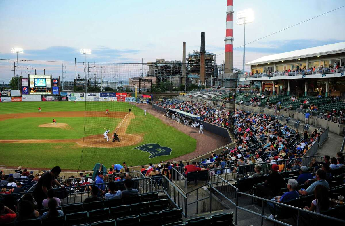 Bridgeport Bluefish action at the Ballpark at Harbor Yard in Bridgeport, Conn., on Friday Aug. 5, 2016.