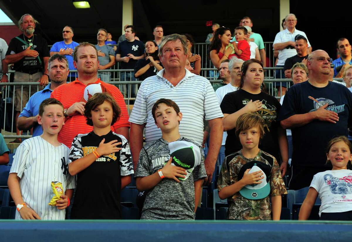 Fans at the Bridgeport Bluefish baseball game vs. the Long Island Ducks at the Ballpark at Harbor Yard in Bridgeport, Conn., on Friday Aug. 5, 2016.