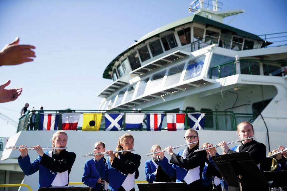 The Chimacum High School band performs before the christening ceremony of WSF's new Olympic Class vessel, the Chimacum, at Vigor Industrial on Harbor Island, Wednesday, Sept. 14, 2016. (GRANT HINDSLEY, seattlepi.com) Photo: GRANT HINDSLEY, Associated Press / AP
