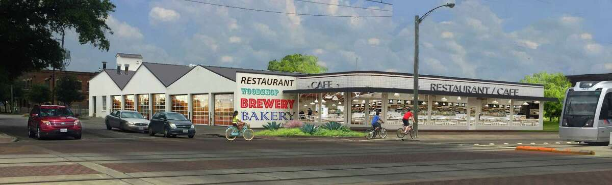 A rendering of the Plant at Harrisburg, a redevelopment project at 3401 Harrisburg in Houston's East End. Tenants will include a cafe, an artisan-owned factory and the non-profit galleryHomeland.