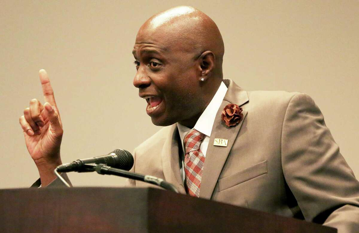 Eugene Cornelius Jr., Deputy Associate Administrator for Field Operations of U.S. Small Business Administration (SBA), delivers a speech at an event on Houston Community College West Loop Campus Wednesday, Sept. 14, 2016, in Houston. ( Yi-Chin Lee / Houston Chronicle )