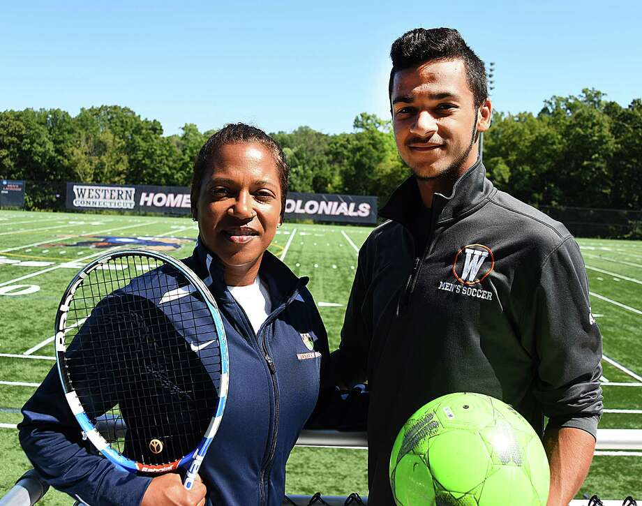 Carole Allers, left, and her son, Chauncey, are both student-athletes at Western Connecticut State University in Danbury. The 45-year-old Allers is a junior who has returned to school full time and is playing tennis while her son is a sophomore on the men's soccer team. The family resides in Wilton. Photo: John Nash / Hearst Connecticut Media / Norwalk Hour