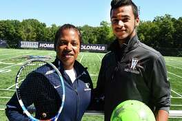 Carole Allers, left, and her son, Chauncey, are both student-athletes at Western Connecticut State University in Danbury. The 45-year-old Allers is a junior who has returned to school full time and is playing tennis while her son is a sophomore on the men's soccer team. The family resides in Wilton.