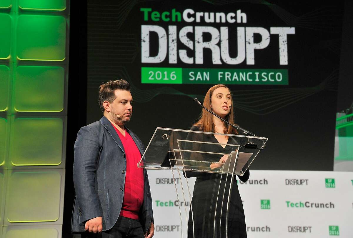 SAN FRANCISCO, CA - SEPTEMBER 12: Editor in Chief TechCrunch Matthew Panazarino (L) and Director of Special Projects Tech Crunch Sam O'Keefe speak onstage during TechCrunch Disrupt SF 2016 at Pier 48 on September 12, 2016 in San Francisco, California. (Photo by Steve Jennings/Getty Images for TechCrunch)