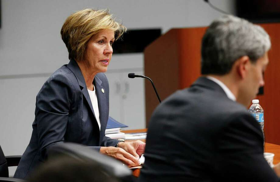 City Manager Sheryl Sculley speaks as City Council holds a final meeting before approving the fiscal year 2017 budget on Thursday. At the B Session meeting on Wednesday, Sept. 14, 2016, several items were brought forth including the increase in wages from $13 to $13.75 for municipal workers. Council members also proposed changes to the budget in order to save certain programs or cut programs within their districts. Lastly a closed session was called likely to discuss a proposed location for a minor league baseball field. (Kin Man Hui/San Antonio Express-News) Photo: Kin Man Hui, Staff / San Antonio Express-News / ©2016 San Antonio Express-News