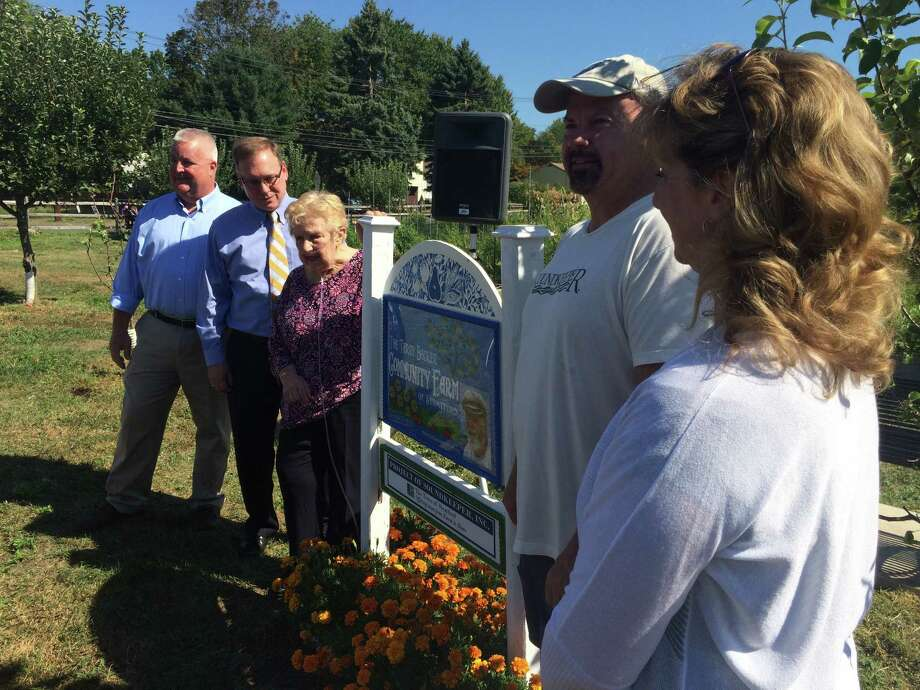 Local officials turned out Wednesday morning for the dedication of the the Terry Backer Community Farm of Stratford. From left are state Rep. Ben McGorty; Mayor John Harkins; Terry Backer's mom, Kay; state Rep. Joe Gresko and state Rep. Laura Hoydick. Former state Rep. Terry Backer died on Dec. 14, 2015. Photo: John Burgeson / Connecticut Post