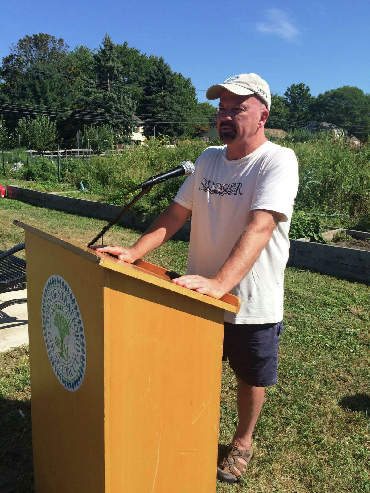 The Stratford community garden was renamed on Wednesday as the Terry Backer Community Farm of Stratford. Speaking at the ceremony was state Rep. Joe Gresko, D-Stratford, who was elected to Backer's seat. Terry Backer died of brain cancer in December, 2015.
