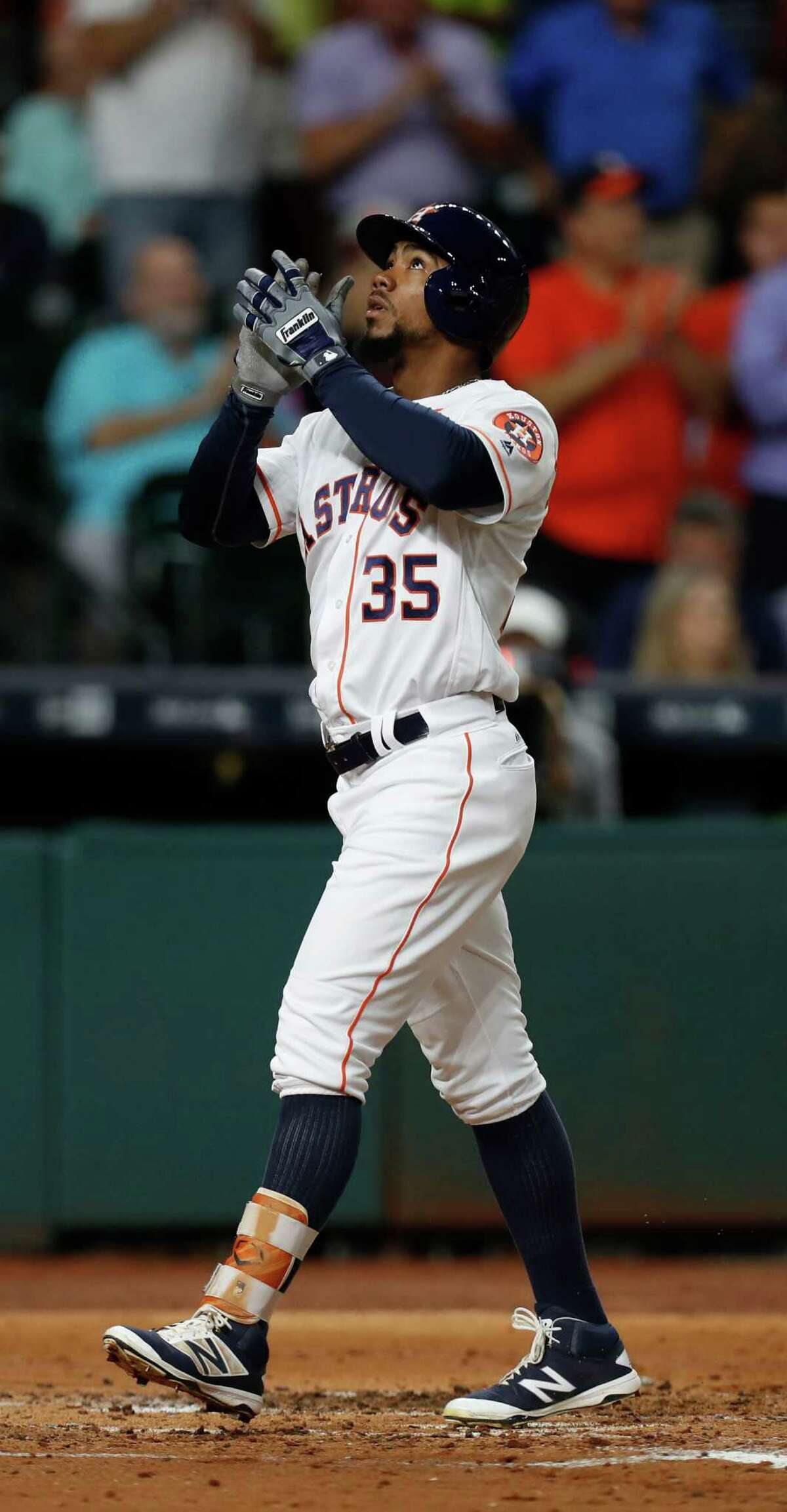 Houston Astros center fielder Teoscar Hernandez (35) reacts after hitting a two-run home run during the second inning of an MLB game at Minute Maid Park, Wednesday, Sept. 14, 2016 in Houston.