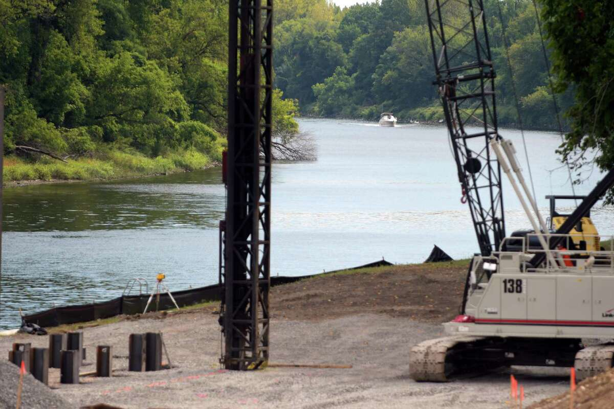A view of the construction area where a concrete pad will be created near Lock 8 is seen here on Wednesday, Sept. 14, 2016, in Rotterdam, N.Y. The pad is for a crane that will be installed to lift both turbines and generators onto a barge on the Erie Canal. (Paul Buckowski / Times Union)