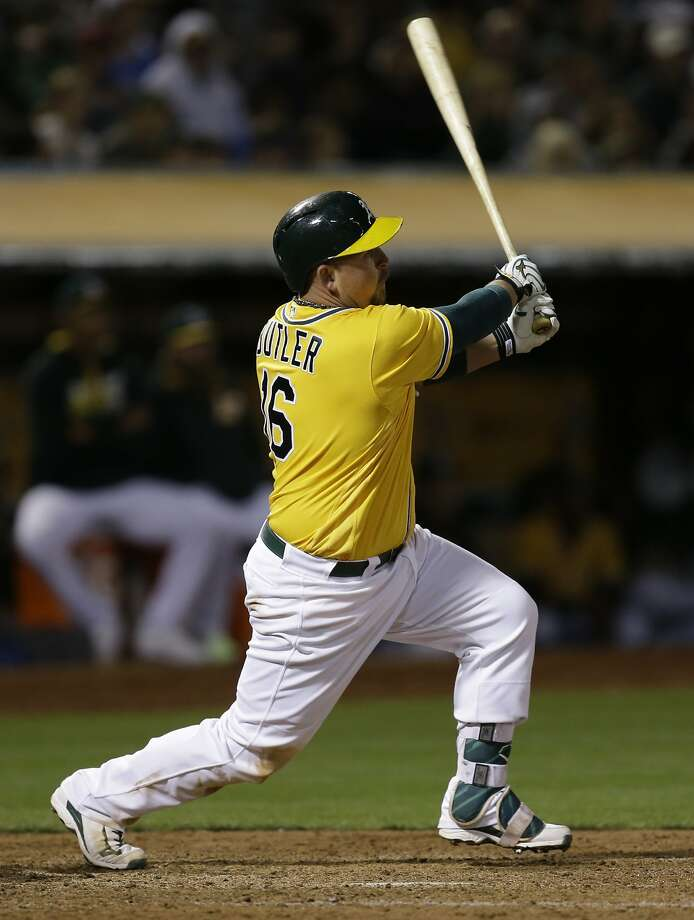 Oakland Athletics' Billy Butler swings for an RBI single against the Baltimore Orioles in the sixth inning of a baseball game, Monday, Aug. 8, 2016, in Oakland, Calif. (AP Photo/Ben Margot) Photo: Ben Margot, Associated Press