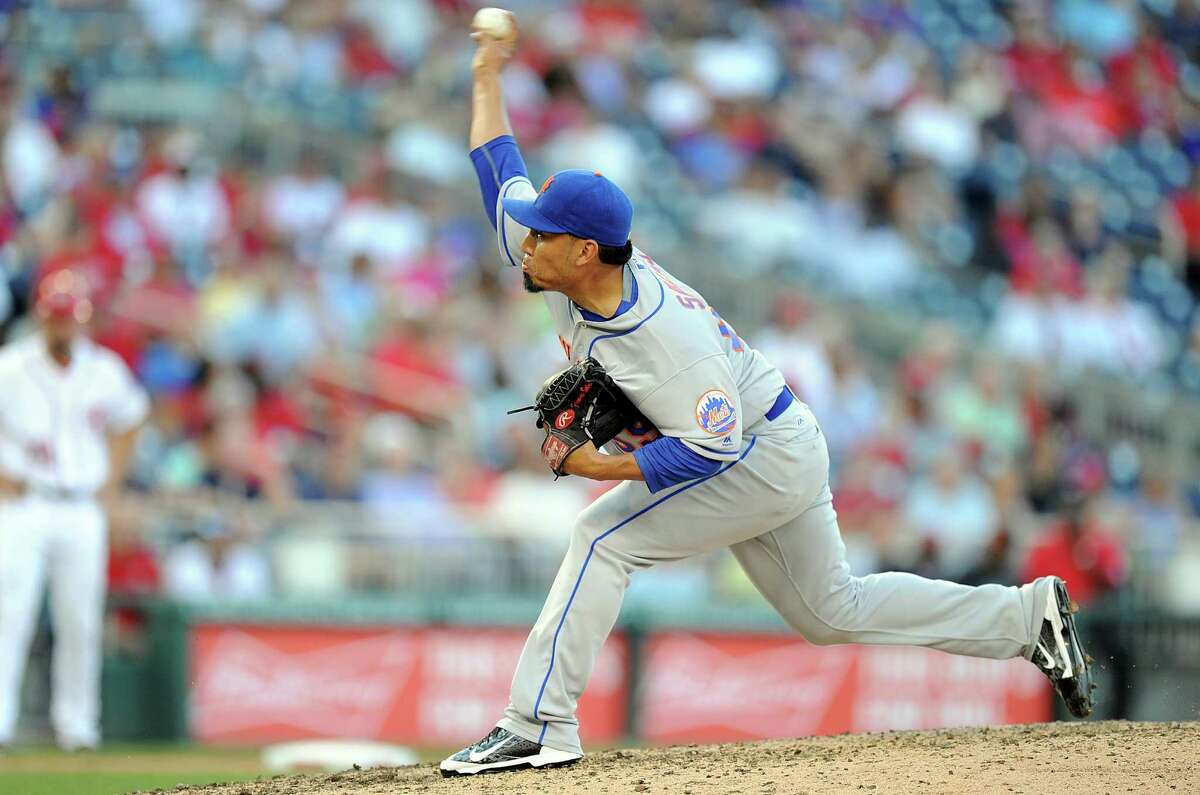 WASHINGTON, DC - SEPTEMBER 14: Fernando Salas #59 of the New York Mets pitches in the seventh inning against the Washington Nationals at Nationals Park on September 14, 2016 in Washington, DC. Washington won the game 1-0. (Photo by Greg Fiume/Getty Images) ORG XMIT: 607685161