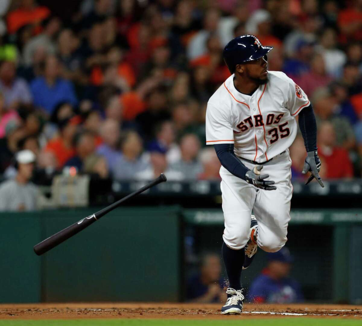 Astros left fielder Teoscar Hernandez hustles out of the batter's box in the second inning before going into his home-run trot following at two-run shot.