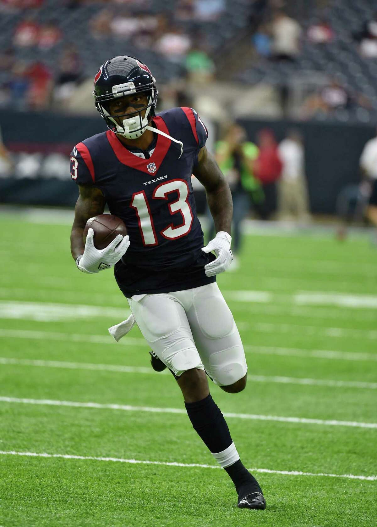 Houston Texans wide receiver Braxton Miller (13) prepares for an NFL preseason football game against the Arizona Cardinals, Sunday, Aug. 28, 2016, in Houston. (AP Photo/Eric Christian Smith)