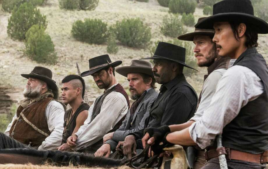 "From left, Vincent D'Onofrio, Martin Sensmeier, Manuel Garcia-Rulfo, Ethan Hawke, Denzel Washington, Chris Pratt and Byung-hun Lee star in the film ""The Magnificent Seven."" (Scott Garfield/Sony Pictures) Photo: Scott Garfield/Sony Pictures, HO / TNS / Miami Herald"