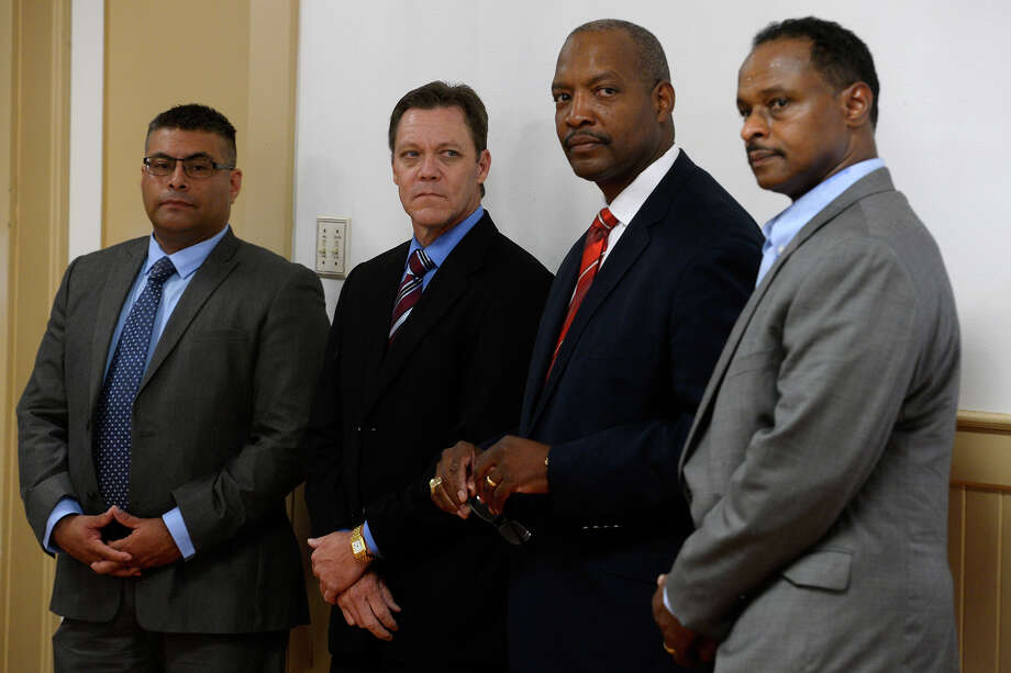Finalists for Port Arthur's police chief job opening during a community forum on Wednesday evening. They are, from left, Jesus Campa, Jeff Fant, Patrick Melvin and Arthur Barclay.  Photo taken Wednesday 9/14/16 Ryan Pelham/The Enterprise Photo: Ryan Pelham / ©2016 The Beaumont Enterprise/Ryan Pelham