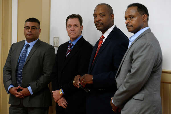 Finalists for Port Arthur's police chief job opening during a community forum on Wednesday evening. They are, from left, Jesus Campa, Jeff Fant, Patrick Melvin and Arthur Barclay.  Photo taken Wednesday 9/14/16 Ryan Pelham/The Enterprise