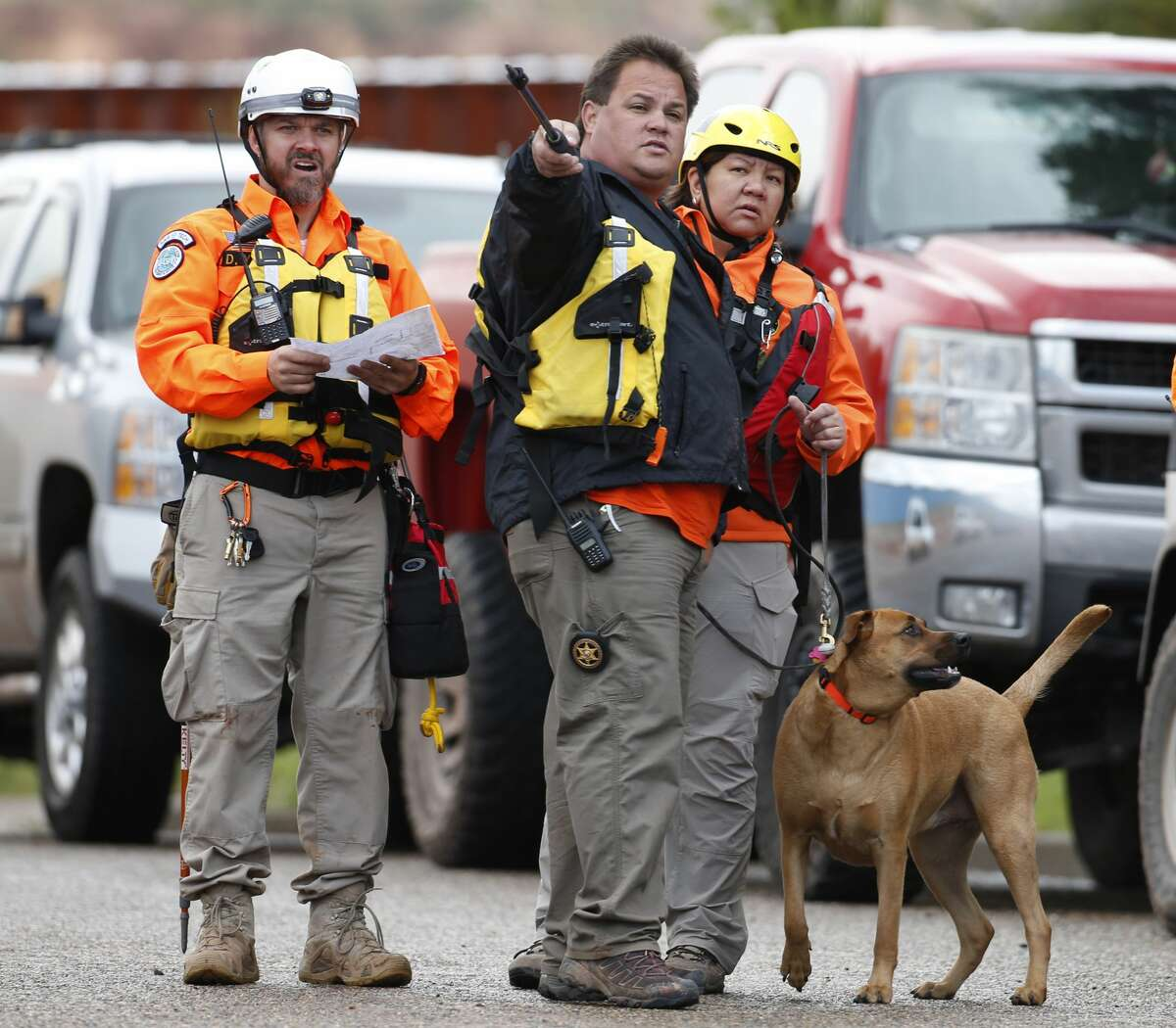 COLORADO CITY, AZ - SEPTEMBER 15: Personnel from the Mohave County Sheriffs Search and Rescue prepare to search Short Creek for missing bodies on September 15, 2015 in Colorado City, Arizona. Flash floods from heavy rains on the afternoon of September 14, 2015 washed away two cars in Hildale as they were crossing a flooded creek, killing 8 people with five still missing. (Photo by George Frey/Getty Images