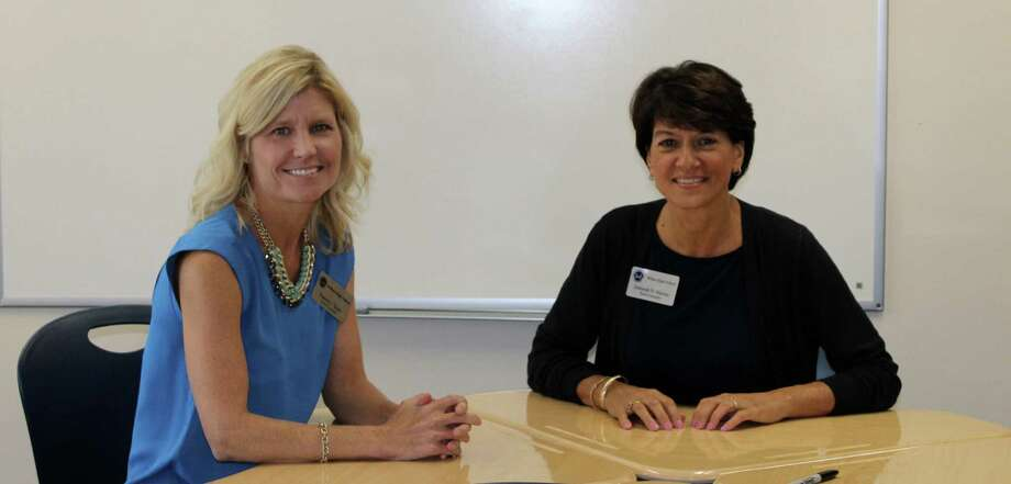 Wilton High School counselors Pamela Scott and Deborah Marino are leading the new FLIGHT program to help freshmen transition more smoothly into high school. Photo: Stephanie Kim / Hearst Connecticut Media