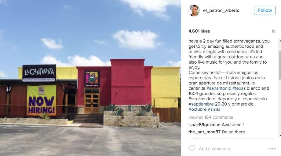 Alberto Del Rio, former WWE star and San Antonio resident, advertised the opening of his new restaurant, La Cantinita, located at 17776 Blanco Road.